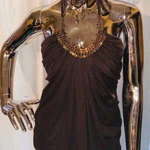 Brown and topaz jeweled top